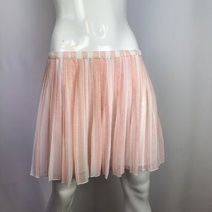 BCBG Generation Mini Pleated Sea Coral Lined Skirt